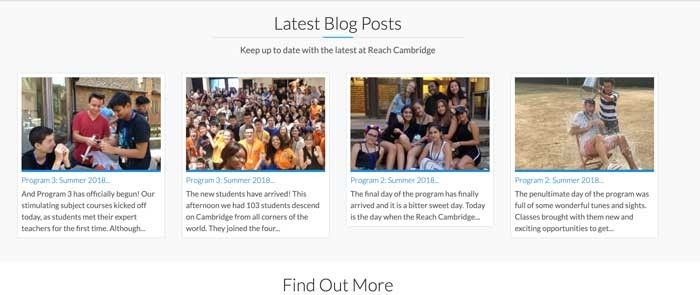 An example of the Reach Cambridge blog posts section, featuring pictures of lots of students enjoying themselves.